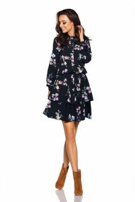 Klasyczna koszulowa sukienka L281 czarny w kwiatki