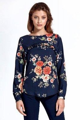 Bluzka cb19 - kwiaty/granat - CB19