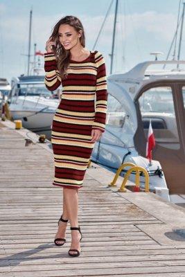 Kobieca ołówkowa sweterkowa sukienka LS224 bordo-kamel-czarny