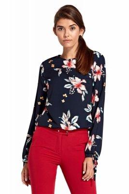 Bluzka z wycięciami na rękawach - kwiaty/granat - B95