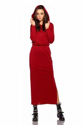 Dresowa sukienka maxi z kapturem L287 bordo