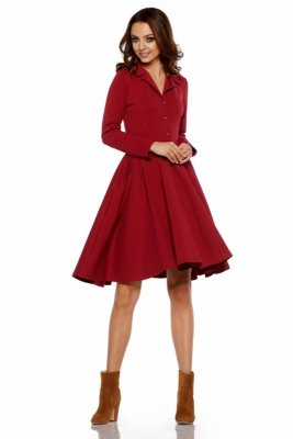 Sukienka z koła z dekoltem V L282 bordo