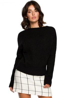 BK015 Sweter o kimonowych rękawach - czarny