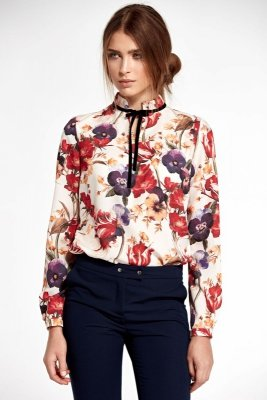 Bluzka ze stójką i tasiemką na szyi - kwiaty - B92