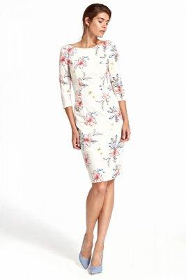 Sukienka z delikatnym wycięciem na plecach- kwiaty/ecru - S106