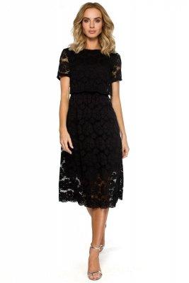 M405 Koronkowa sukienka midi - czarna