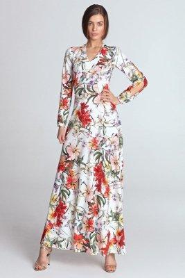 Sukienka maxi z wycięciami na rękawach - kwiaty/ecru - S119