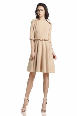 Kobieca sukienka z falbankami L291 ciepły beż