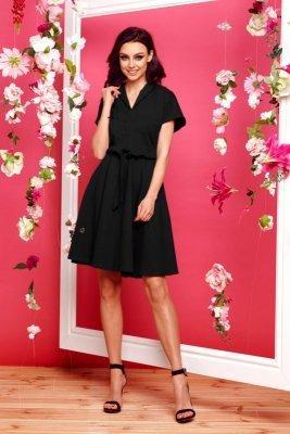 Sukienka dresowa elegancka L293 czarny