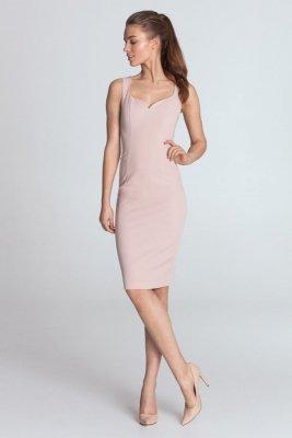 Sukienka z dekoltem w kształcie serca - róż - S113