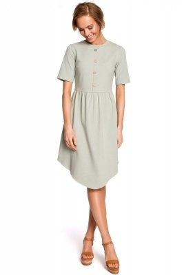 M434 Bawełniana sukienka z guziczkami - pistacjowa