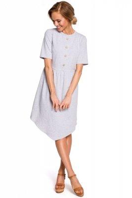 M434 Bawełniana sukienka z guziczkami - szara