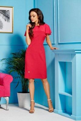 Elegancka sukienka z szyfonowymi rękawami i dekoltem L299 malina