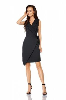 Sukienka kopertowa wiązana w pasie bez rękawów L308 czarny