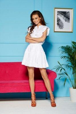 Komplet bluzka + spódniczka z falbankami LG500 biały
