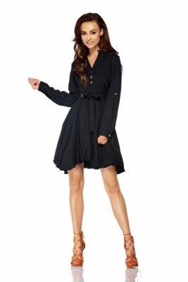 Rozkloszowana sukienka z długim rękawem wiązana w pasie LG502 czarny