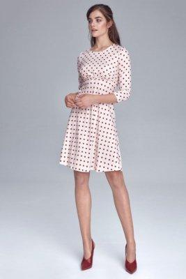 Sukienka odcięta pod linią biustu - krem/grochy - S130