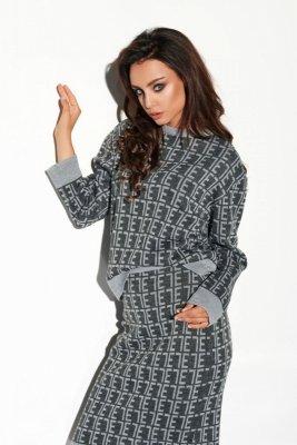 Komplet monogramy sweterek i spódniczka LSG108 grafit-jasnoszary