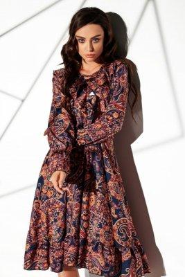 Sukienka ze sznurowanym dekoltem wzory LG505 druk 2
