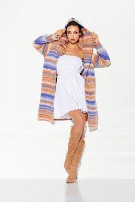 Kardigan z kapturem w kolorowe paski LSG103 jeans-kamel