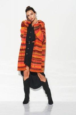 Kardigan z kapturem w kolorowe paski LSG103 rudy