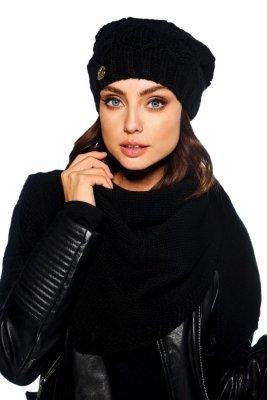 Komplet czapka i szalik o kroju chusty LC110 czarny