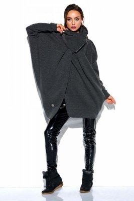 Bluza o oversizowym kroju z zamkiem LN100 grafit