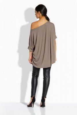 L204 Luźna elegancka bluzka beżowy