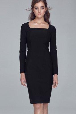 Sukienka z dekoltem karo - czarny - S125