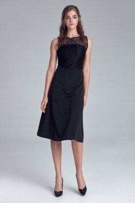 Sukienka z koronkowym dekoltem - czarny - S128