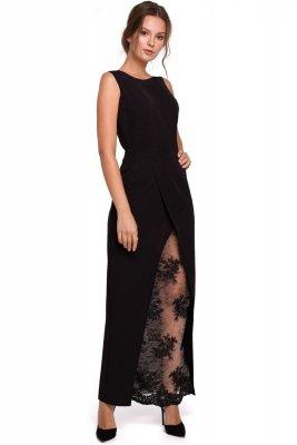 K012 Długa sukienka wieczorowa z koronkowym dołem - czarna