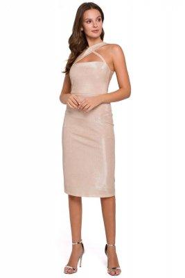 K016 Sukienka z dekoltem na krzyż - beżowa
