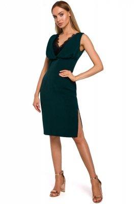 M486 Sukienka z koronkową wstawką w dekolcie - zielona
