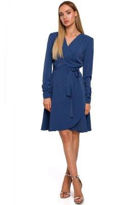 M487 Sukienka na zakładkę wiązana w pasie - niebieska