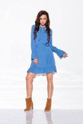 Sukienka z falbanką i wiązaniem przy szyi kolor L 317 jeans