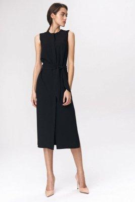 Czarna sukienka szmizjerka - S133