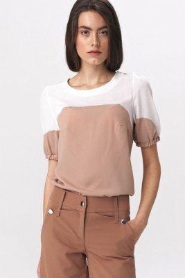 Dwukolorowa bluzka  z bufiastym rękawem - B115