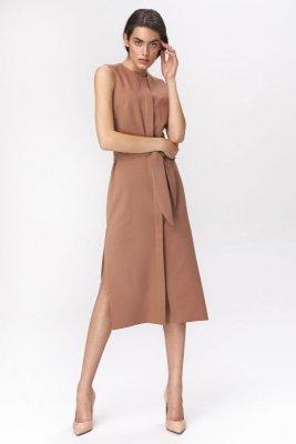 Karmelowa sukienka szmizjerka - S133