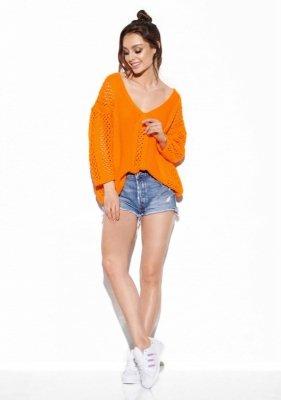 Ażurowy sweter z wiązaniem na plecach LS281 pomarańczowy