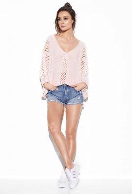 Ażurowy sweter z wiązaniem na plecach LS281 pudrowy róż