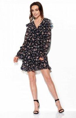 Szyfonowa sukienka z jedwabiem i kopertowym dekoltem wzór LG516 druk 15
