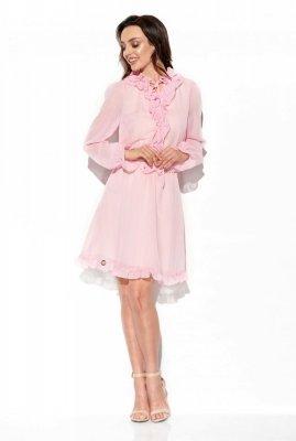 Szyfonowa sukienka z jedwabiem i żabotem kolor L327 pudrowy róż