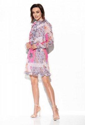 Szyfonowa sukienka z jedwabiem i żabotem wzór LG518 druk 16