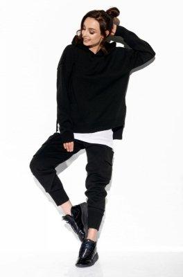 Modny komplet swetrowy z bojówkami LSG123 czarny