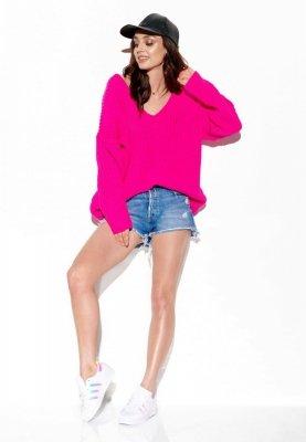 Sweter z dużym dekoltem V LS292 ostry róż