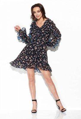 Szyfonowa sukienka z jedwabiem i falbankami wzór LG517 druk 15