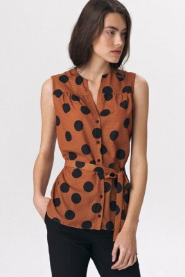 Urocza karmelowa bluzka bez rękawów - grochy - B112