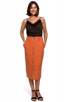 S207 Spódnica ołówkowa zapinana na guziki - pomarańczowa