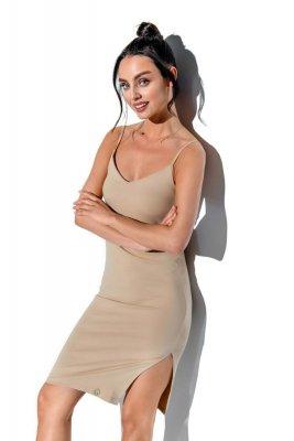 Basicowa bawełniana sukienka na ramiączkach LN118 beżowy