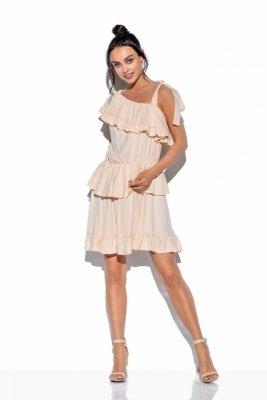 Sukienka na jedno ramię z falbanką kolor L336 beżowy